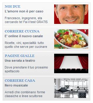 Un esempio dei box pubblicitari frequenti su Corriere.it