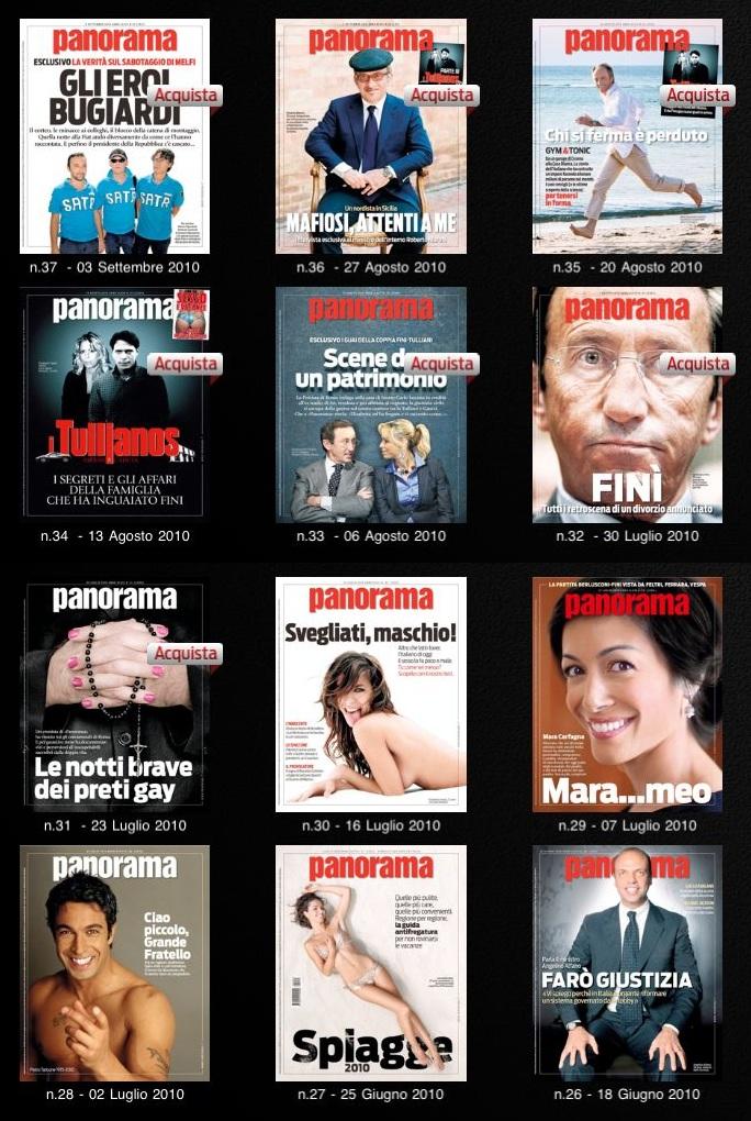 Le copertine dei primi dodici numeri di Panorama disponibili su iPad