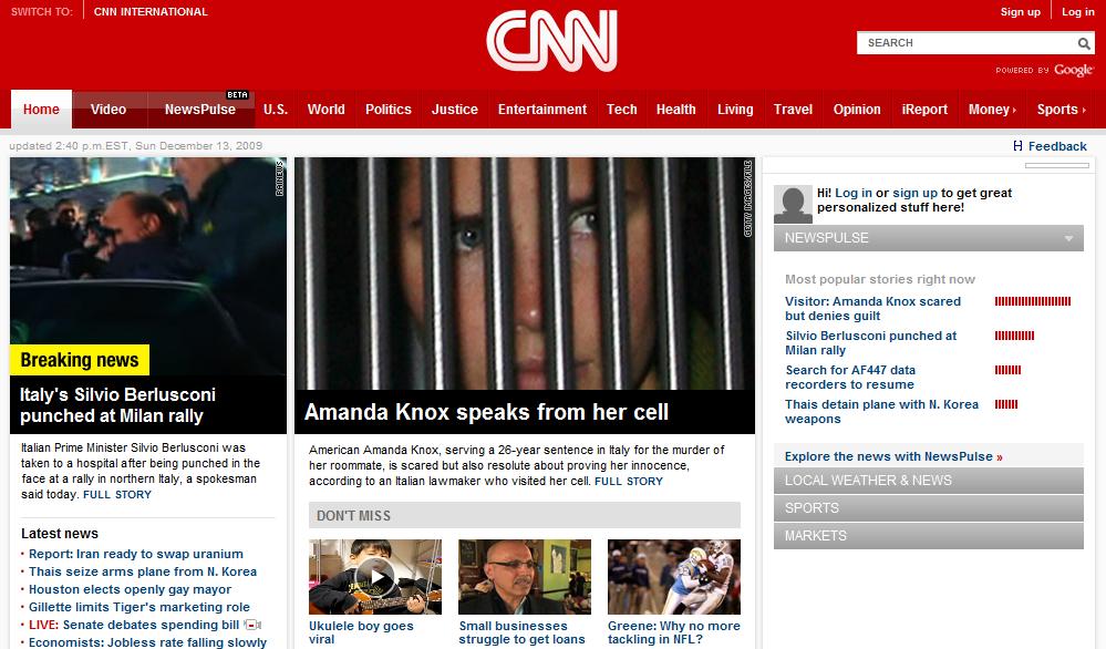L'immagine dell'attuale home page di CNN