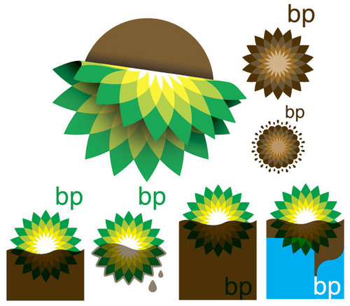Le rielaborazioni del logo BP pubblicate su World Famous Design Junkies