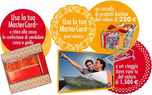 Un'immagine tratta dal sito MasterCard Italia che illustra la promozione congiunta con Auchan